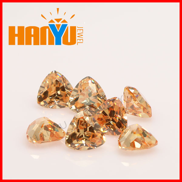 High quality synthetic diamond fat triangle cut loose cz gemstone