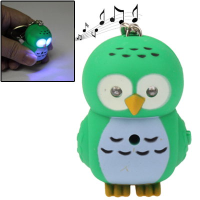 Cute Owl Style Key Chain with Light & Sound Effects (Green)