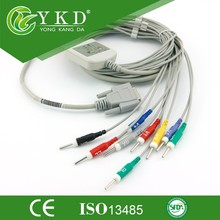 YKD CE and ICO 13485 approval Wholesale Reliable quality GE 3 RAY ECG-2201,2203,2206,2212,10 lead EKG cable DIN3,MADE IN CHINA