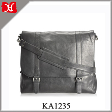Black Genuine Leather Satchel-Style Briefcase Mens Messenger Bag with Flap Over Top