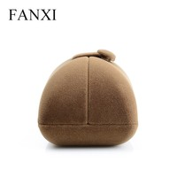 FANXI antique coffee ice velvet single/double ring box for lovers proposal ring jewelry box jewelry packaging box with button