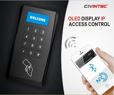 TCP/IP OSDP Bluetooth Mifare Access Control Reader with OLED Display and Mechanical Keypad