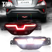 Car LED Warning Tail Light Red Rear Fog Lamp driving rear fog lamp bulb for TOYO TA CHR three functions