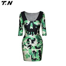 skull printing ladies body fit strech Lycra dress