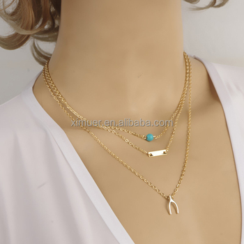 Most popular layered chain wishbone necklace