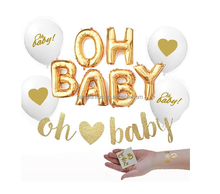 Gold OH BABY! Girl Boy Baby Shower Mylar Balloons Glitter Banner Two Oh Baby Tattoos Decorations