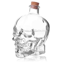 750ml skull bottle liquor bottles empty glass wine bottle for vodka and whisky