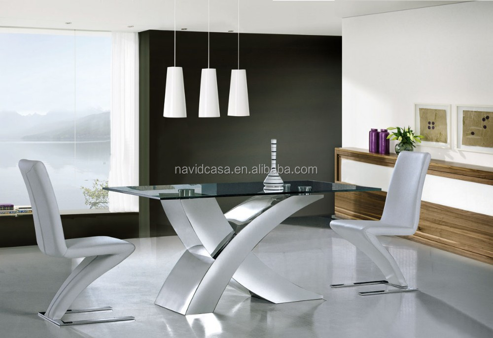 X01 Pics of modern stainless steel dinning table set with chairs