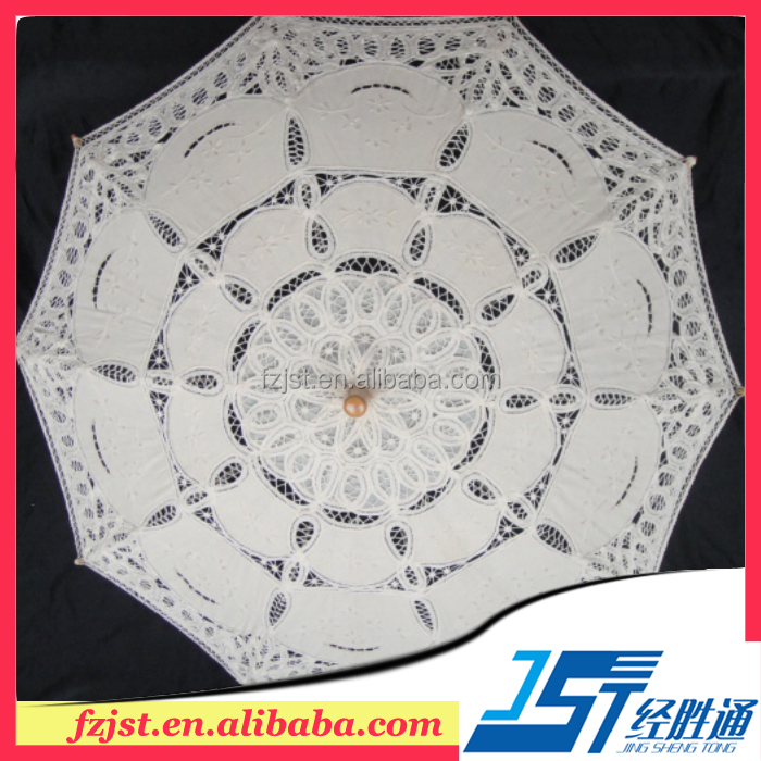 100% cotton 48cm lace <strong>wedding</strong> umbrellas ivory <strong>wedding</strong> favors decoration
