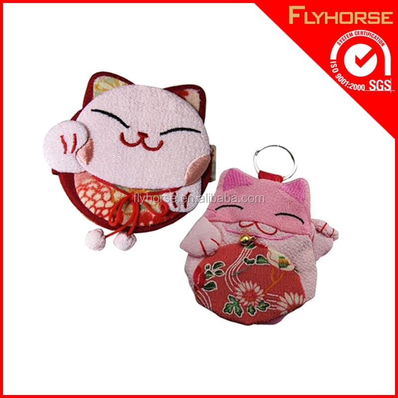 Customized Cute fat cat shaped fabric key chain