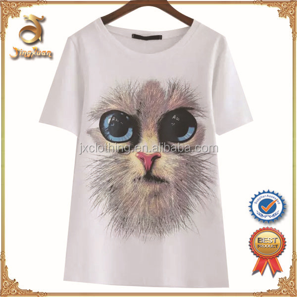 Casual Streetwear Apparel 100% Polyester 3D Printed Cat T-shirt for Lady