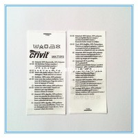 printed polyester garment wash care label