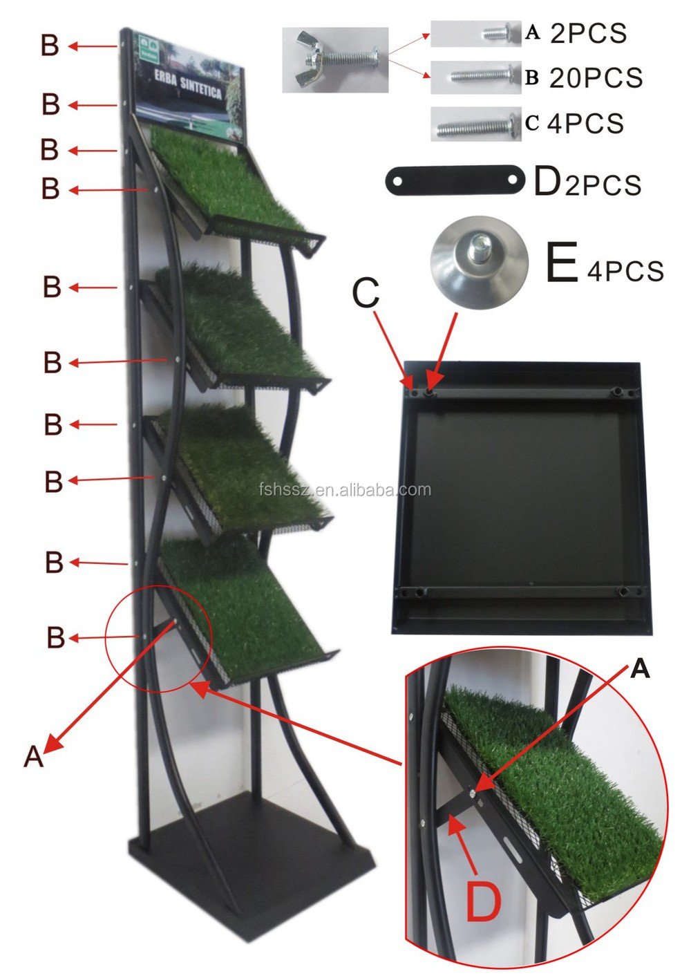 small pieces green grass display shelf for store HS-ZS19