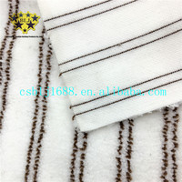 White With Brown Stripe Microfiber Machine Knitted Coral Fleece Steam Mop Fabric