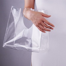 Clear Tote Shopper Square Bag with Round Handles Transparent Recycling PVC