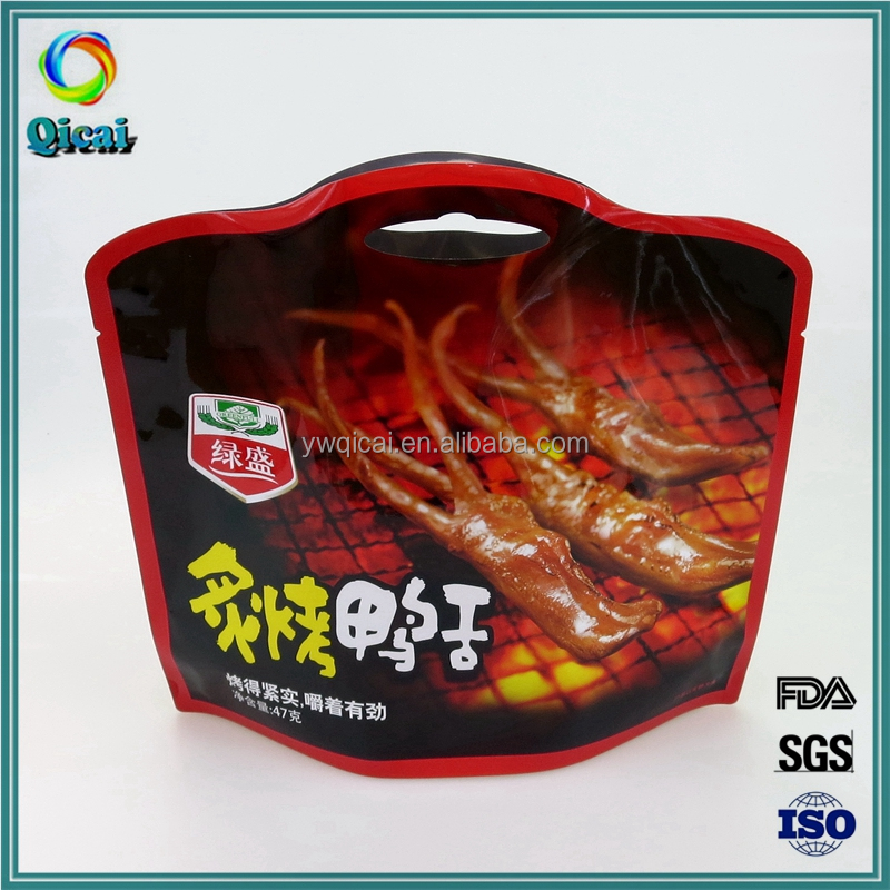 China supplier aluminum foil plastic snack food packaging pouch for cooked meat