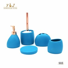 Bright Blue Hotel Upscale Polyresin Bathroom Accessories set