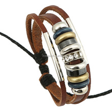 Jewelry Making Supplies High Quatity Brown Leather Woven Rope Bracelets