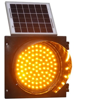 Road safety yellow warning signal light led solar flashing light