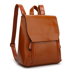 Wholesale Trendy ladies daily backpack bag, Wax PU leather women backpack