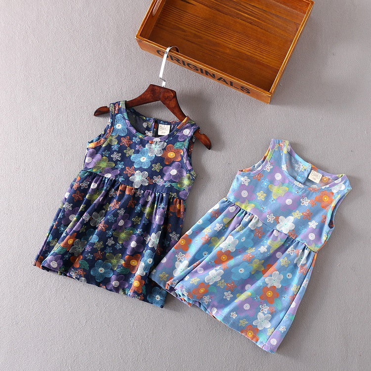 Baby dress 2017 kids clothing girls sleeveless Europe and the United States full of broken walnut denim boutique skirt