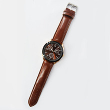 High Quality Classic Dark Brown Leather Watch for Man uhren