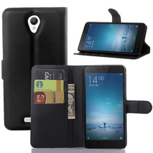 Litchi PU Card Holder Wallet Flip Leather Case For Xiaomi Redmi Note 2