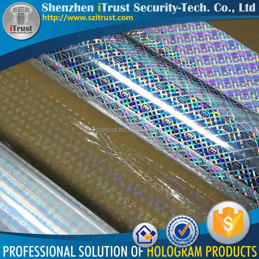Self adhesive holographic plastic film roll