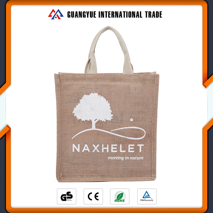 Guangyue High Quality Eco Friendly Tree Pattern Printing Linen Gift Shopping Bag