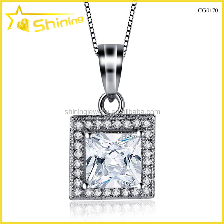 Panyu factory new design princess cut cz 925 silver big square pendant design