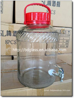 Glass storage big jar wine dispenser with plastic handle