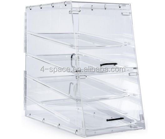 Transparence four layer Acrylic Food Display Case for Bakery/Trays/Knock Down Design