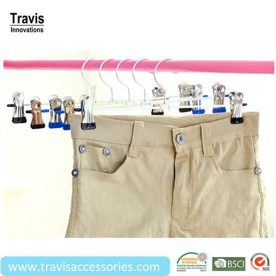 Children Pants Clip Hangers With Stainless Steel Bar, Iron Thickening Trousers Clips For Garment