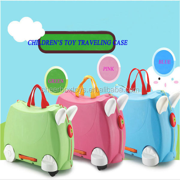 High quality travel luggage bags for kids eco-friendly plastic baby ride on travel suitcase