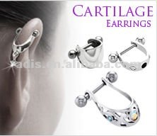 surgical steel 5 Gem Cartilage Piercing Earring