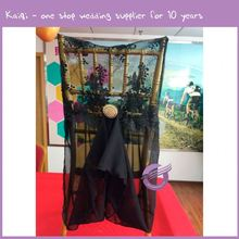 D315 black transparent lace with chiffon sash fancy chair cover weding