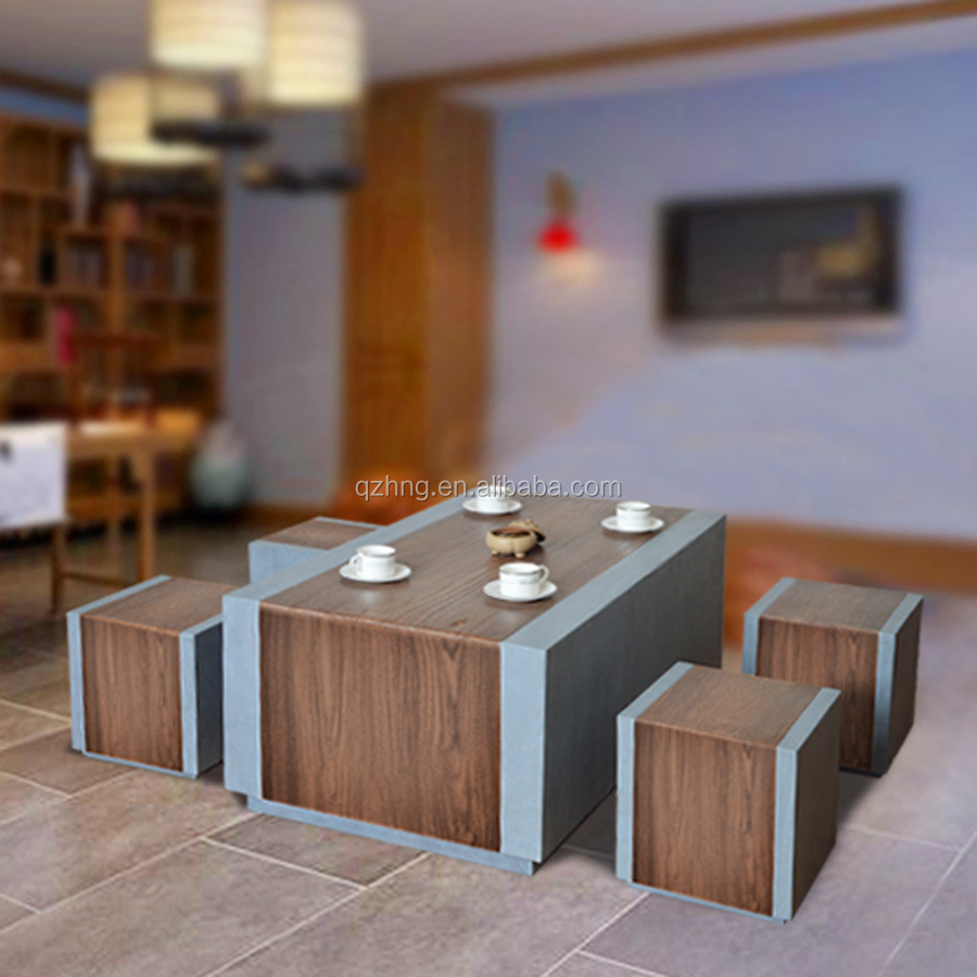 Zen table and stools with wood look