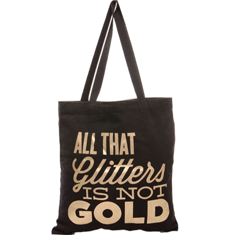handmade black Hot stamping gold printing cotton tote bag