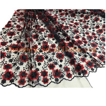 High quality 3d chiffon hand beaded lace fabric from india french wedding