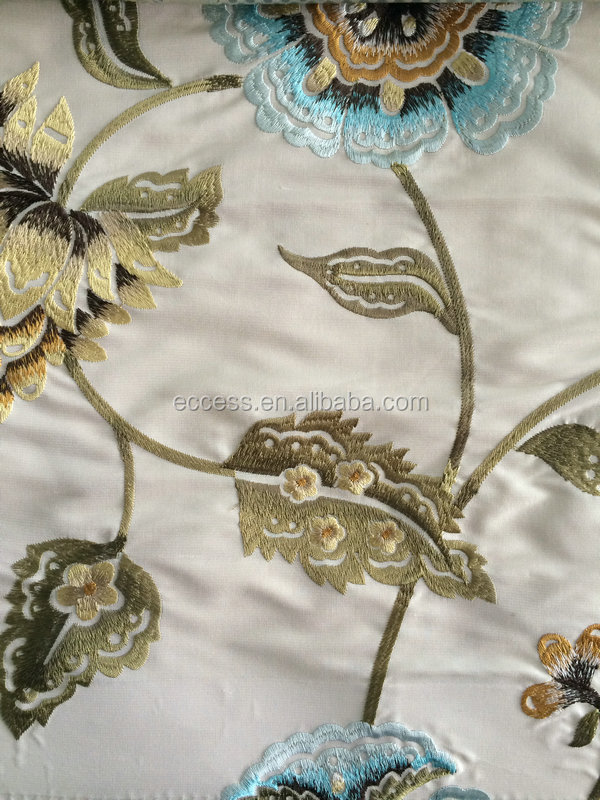 35%silk 65%polyester material fabric embroidered fabric