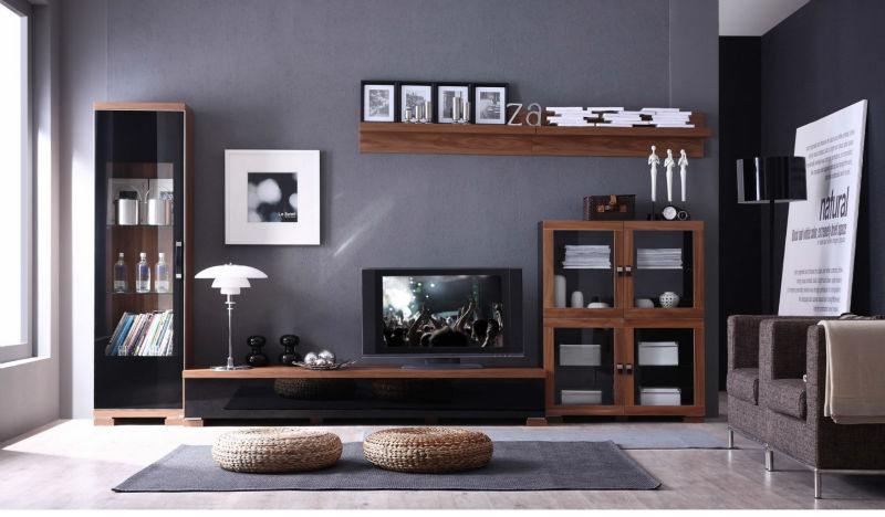2014 Latest design modern tv wall unit was made from E1 solid chipboard with painting for living room