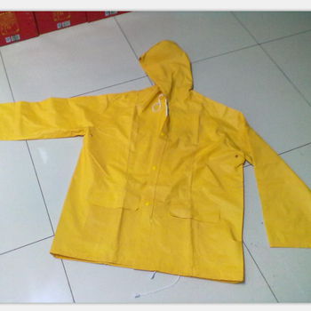 tengxing Hot selling yellow Mens Hooded Long Waterproof PVC Rainsuit