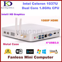 Intel Celeron 1037U i3 4010U Dual Core Small Size Aluminum Case 1080P HD fanless mini computer with wifi and HDMIVGA USB3.0