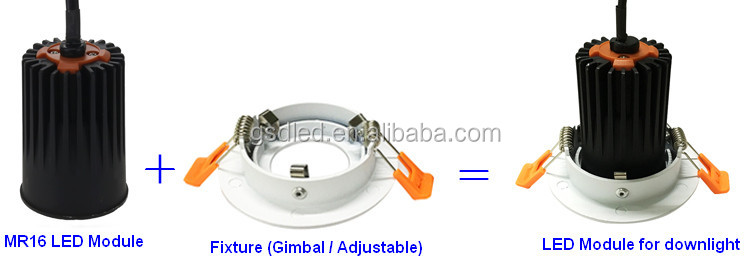 50W to 100W halogen equivalent 7W 500lm to 15W 1000lm LED Downlight Modules