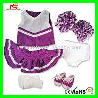LE-D471 Girl Doll Clothes Purple Cheerleader +Sneakers+Socks Panties Doll Accessories