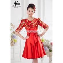 China Satin Womens cheap Dresses Knee Length Half-sleeve Red Bridesmaid New Dresses