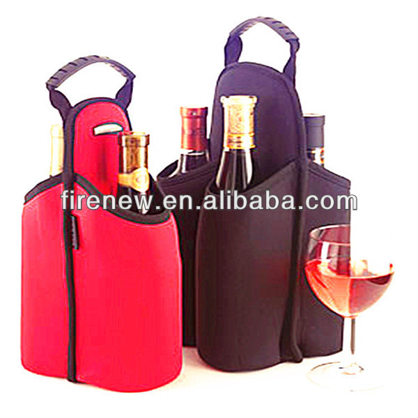 New design leather 2 bottle wine holder, wine bag with customize logo printing