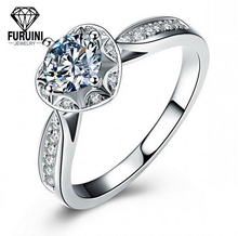 China Factory Wholesale Platinum Plated Clear AAA Zircon Diamond Ring For Women
