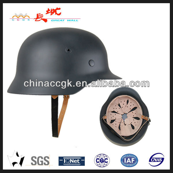 anti-riot steel helmet of German M35 style in grey