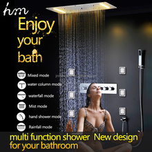 Luxury High Quality LED Shower Set Ceiling Big Rain Shower Head Waterfall Spa Misty Column Shower with Massage Body Jet